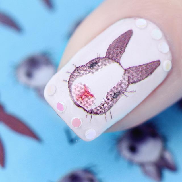 Graphical Flower Rabbit Nail Sticker