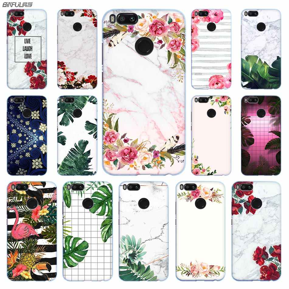 White marble and flowers Anime Phone Case PC for Xiaomi Mi 9 8 8SE 5X 6x A2 Lite Pocophone f1 Mix 2s Max 2 3 64G Cover