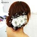 Decoração de flores de Casamento Acessórios Para o Cabelo Pérolas Headpiece Nupcial Mariage Casamento Voilette SQ077