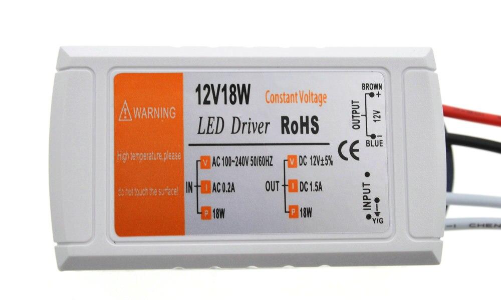Fuente de alimentación de 12V 1.5A 18W interruptor de transformadores para adaptador CA/CC para tira LED RGB luz de techo fuente de alimentación del controlador 90 V-220 V Controlador cree XHP70 6v 5 modo dia26mm input7-18v output6V 4A controlador de linterna Led de corriente constante