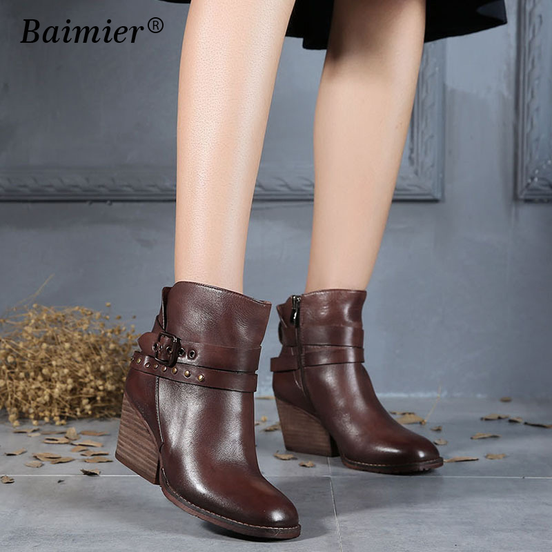 Winter Ankle Boots For Women Platform High Heels Female Buckle Genuine Leather Shoes Woman Martin Boot Casual Ladies Footwear
