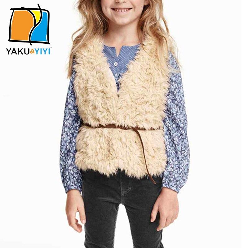 YKYY YAKUYIYI Faux Fur Hairy Girls Tank Sleeveless Baby Girls Vest Outerwear & Coat Belt V-neck Children Tank Girls Clothing
