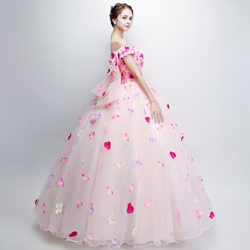 42beae1160 Robe De Soiree Sweet Colourful Flower Prom Dress Romantic Flower Fairy Floor -length Long Formal Party Gown Custom – The Woman Fashion