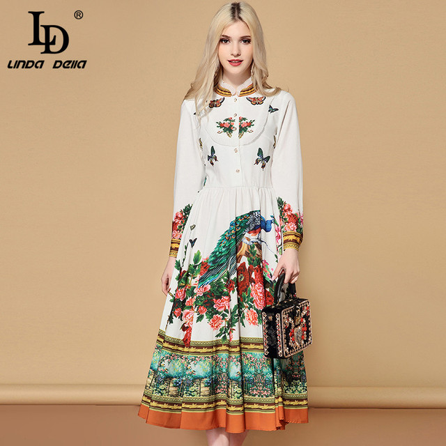 Women's Long Sleeve Charming Floral Print A Line Holiday Casual Dress