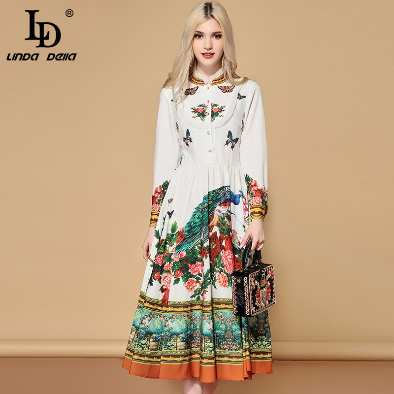 LD LINDA DELLA Autumn Fashion Runway Elegant Dress Women's Long Sleeve Charming Floral Print A Line Holiday Casual Dress 2019