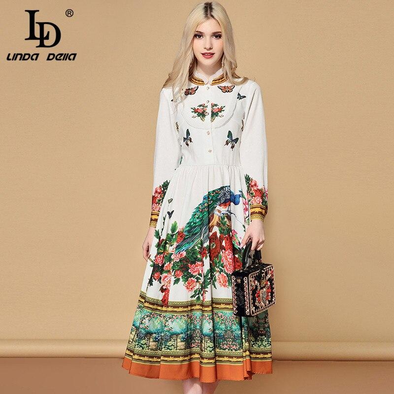 Kadın Giyim'ten Elbiseler'de LD LINDA DELLA Sonbahar Moda Pist Zarif Elbise Kadın Uzun Kollu Büyüleyici Çiçek Baskı Bir Çizgi Tatil rahat elbise 2019'da  Grup 1