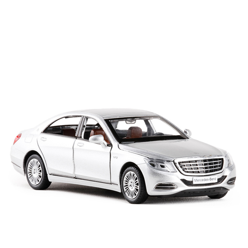 1:32 S600 Simulation Coupe Toy Vehicles Model Alloy Pull Back Children Toys Genuine License Collection Gift Kids Six Open Door
