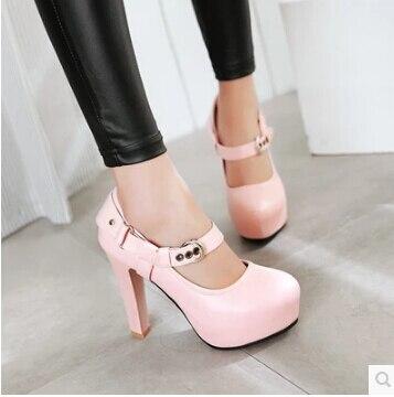 e799e93f 2017 primavera nuevos zapatos de mujer palabra hebilla impermeable  plataforma tacones altos hebilla de cinturón grueso con cabeza redonda  conjunto de pie ...