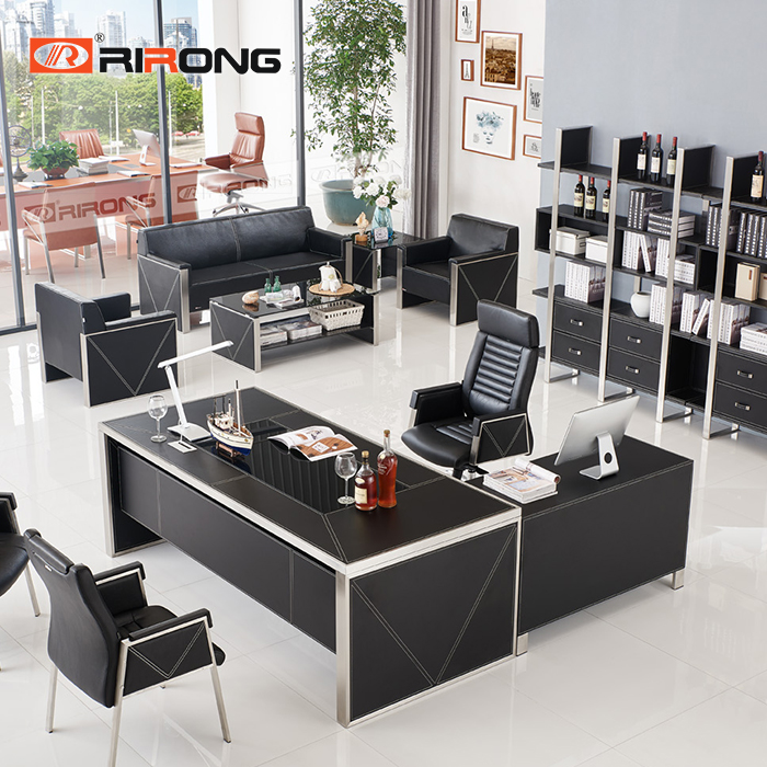 Full Black Modern Leather Small Size Brushed Stainless  Office Study Room Office Table Desk