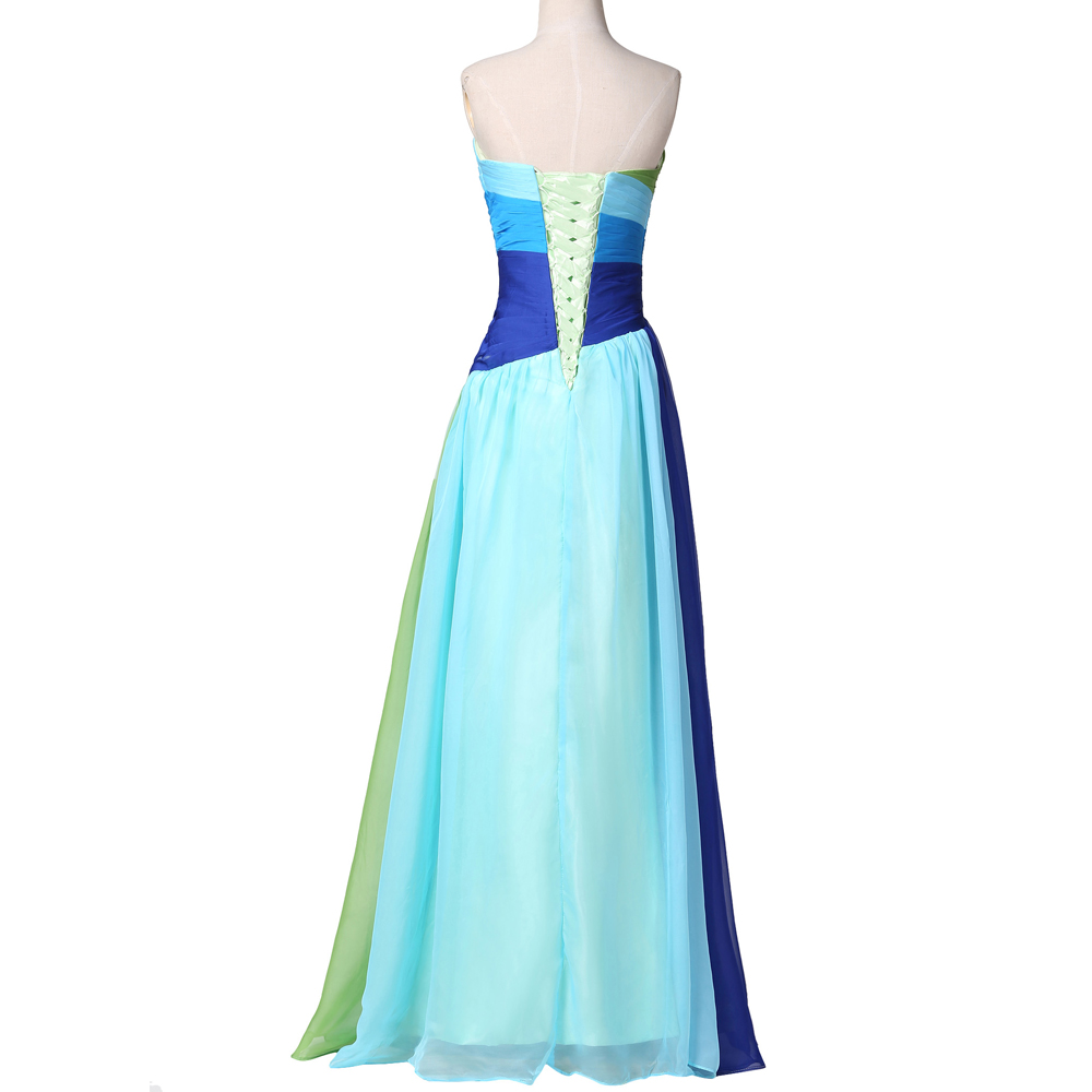 Blue Ombre Bridesmaid Dresses Grace Karin Strapless Chiffon Beaded