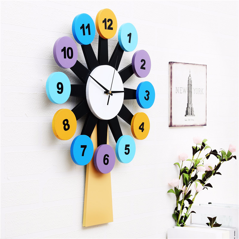 Home Decoration Fashion Art Wooden Windmill Personality Wall Clock Mute Creative Living Room Children Modern