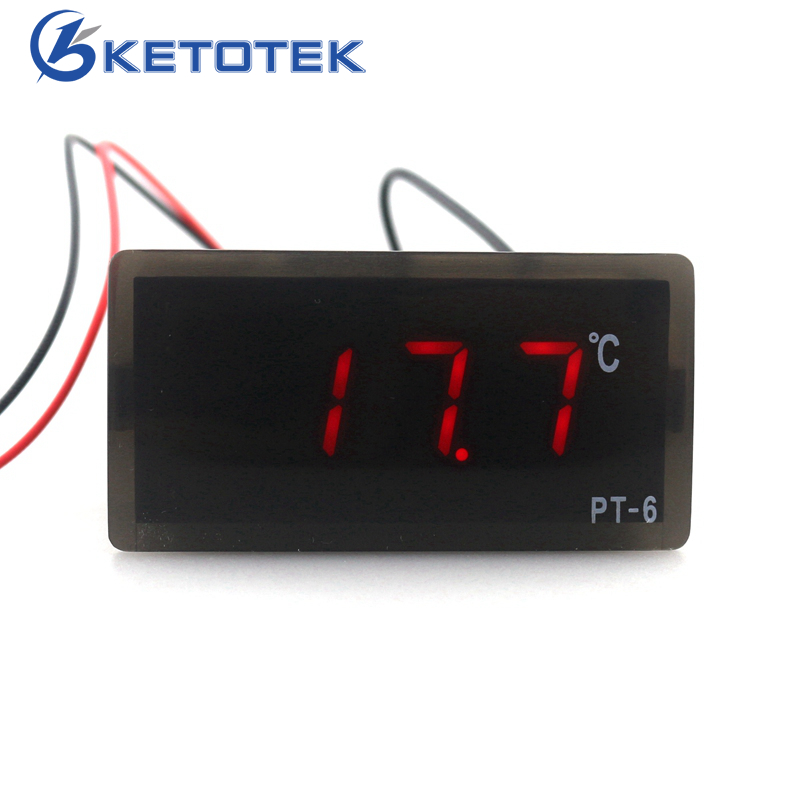 PT-6 -40~110C Digital Car Thermometer Vehicle Temperature Meter Monitor 12V Automotive Thermometer with 2m NTC Sensor