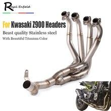 Z900 Motorcycle Exhaust headers muffler pipe System For Kawasaki Z900 Muffler Pipe Front Header Pipe Tube Slip-On With Sensor