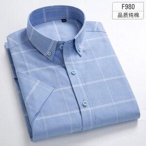 Image 3 - Artı Boyutu 5XL 6XL 7XL 8XL Düz Renk Tam Pamuk Ince Kısa Kollu Erkek Gömlek Casual İş Resmi Beyaz Mavi kadınlar Için Şişman