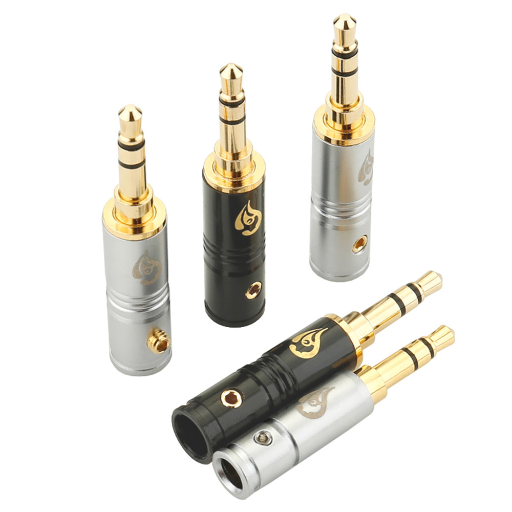 3.5mm Plug Audio Jack 3 Poles Stereo HiFi Earphone Plugs Adapter Gold Plated DIY Headphone Jack Solder Connector AUX Adapters