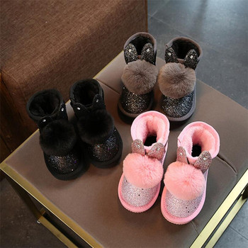 Botas De Goma Rosa | 2018 Invierno Nuevas Botas De Niña Niños Bonitos Dibujos Animados Conejo De Felpa Princesa Botas Niños Moda Bling Zapatos Calientes Botas De Niñas Rosa