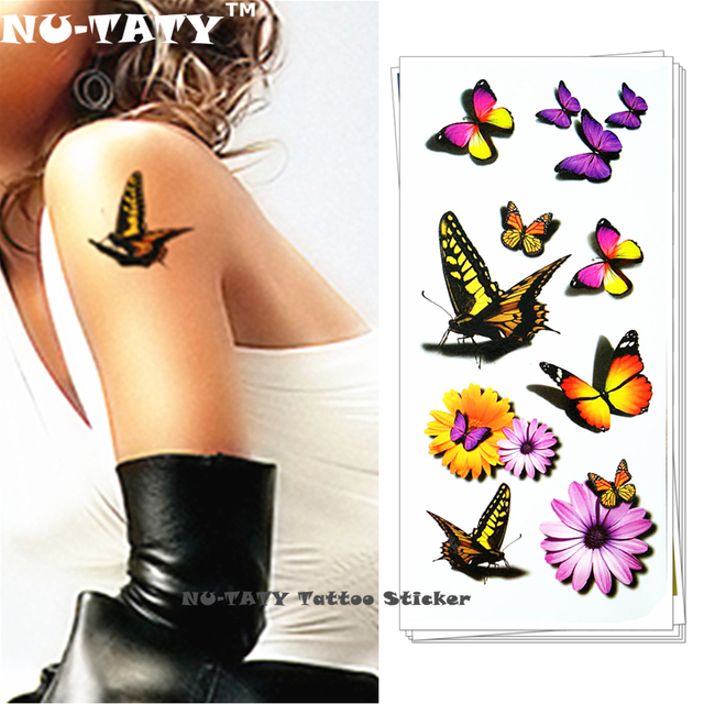 Nu-TATY 3d Temporary Flash Tattoo Body Art Tatoo Sticker Sexy Butterfly Daisy 1 Sheet 19x9cm For Selfie Sticker