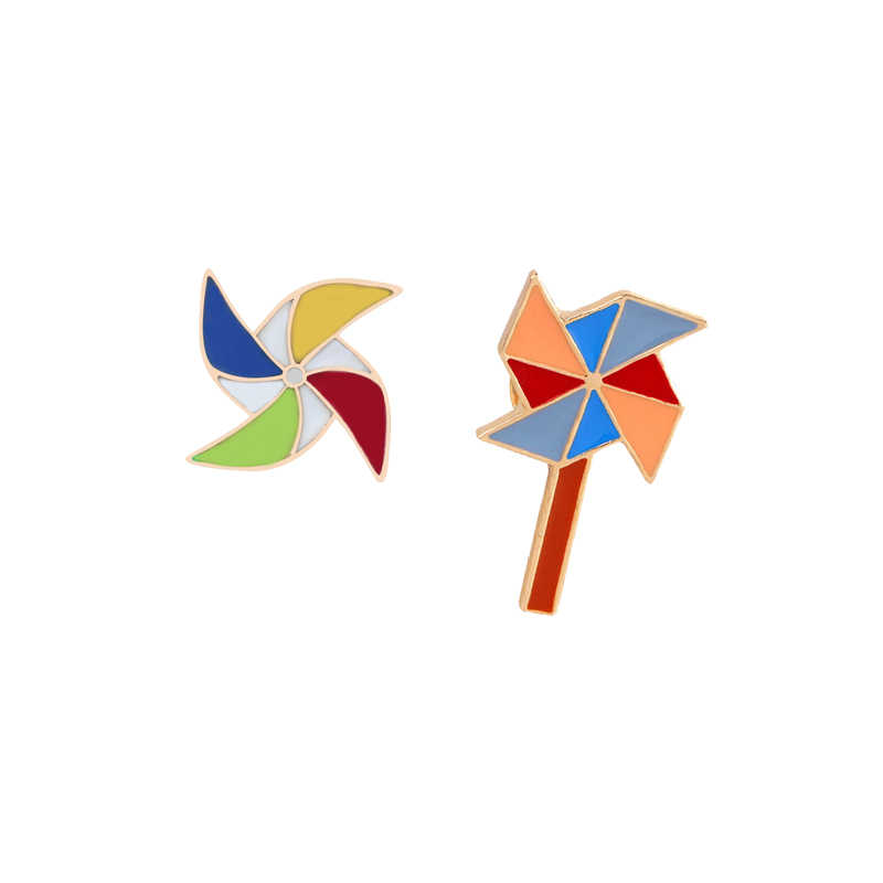 Sunny Leuke Vrouwen Meisje 1Pc Broche Emaille Pins Rainbow Cloud Paraplu Windmolen Zon Trui Jas Tas Pin Badge Warm gift Stuur Haar