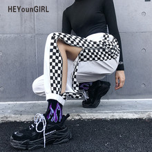 HEYounGIRL Patchwork Checkerboard Harem Pants Women Plaid Hi