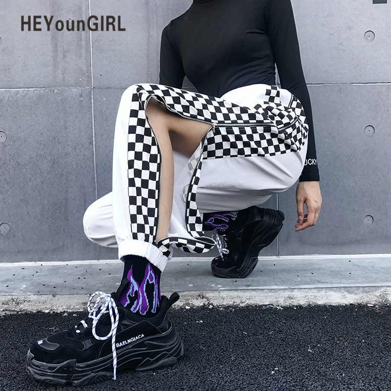 HEYounGIRL Patchwork Checkerboard Harem Pants Women Plaid High Waist Cargo Pants Capri Streetwear Harajuku White Ladies Trousers