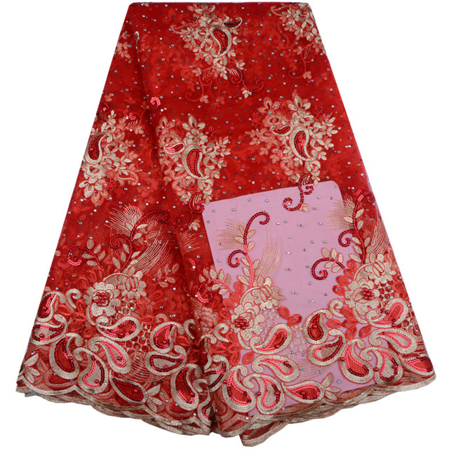 Red African Lace Fabric 2018 Embroidered Nigerian Laces Fabric Bridal High  Quality French Tulle Lace Fabric 97384a398ee6
