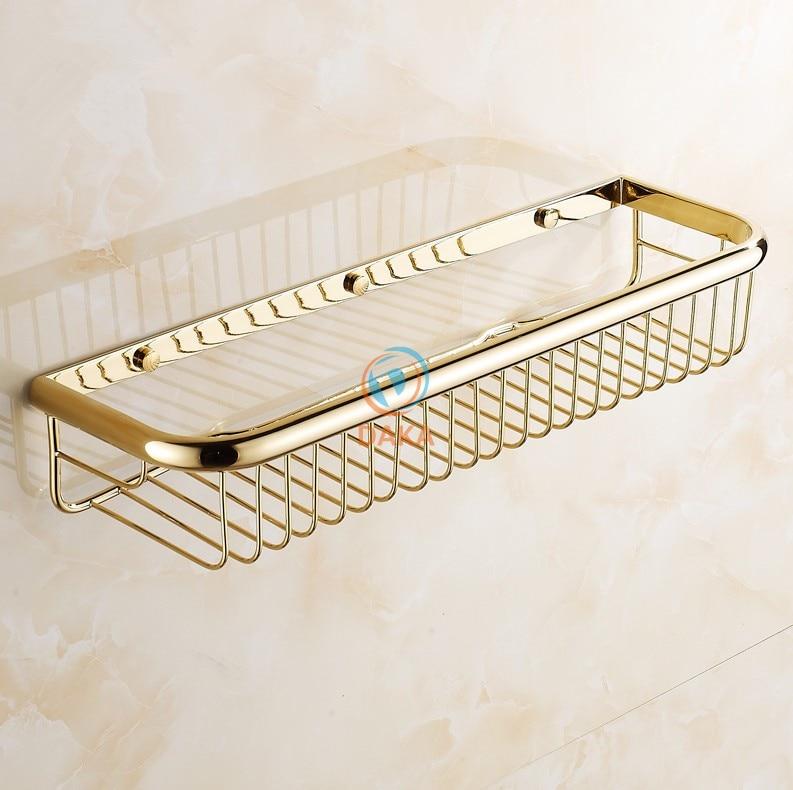 цены  Fashion Gold Finish Bathroom Accessories Shower shampoo&Cosmetics Shelf Basket Holder/Brass Material Wall Shelves/ shower rack