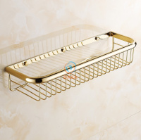 Fashion Gold Finish Bathroom Accessories Shower Shampoo Cosmetics Shelf Basket Holder Brass Material Wall Shelves Shower
