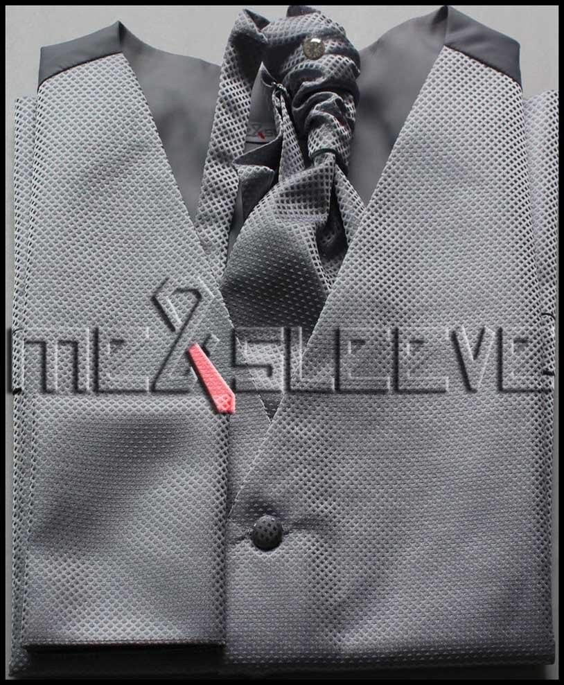 silver geometrical winter fashion formal wear waistcoat 4pcs