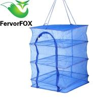 FervorFOX Fish Net 40 X 40 X 65cm 4 Layers Drying Rack Folding Fish Mesh Hanging