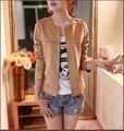 2016 Fashion Bolero Jacket Women Solid color Suede Rivets Slim Jacket M-2XL