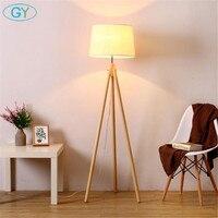 Industrial Tripod Floor Lamp Linen Beige Fabric lampshade living room standing Lights bedroom E27 stand floor lighting fixture