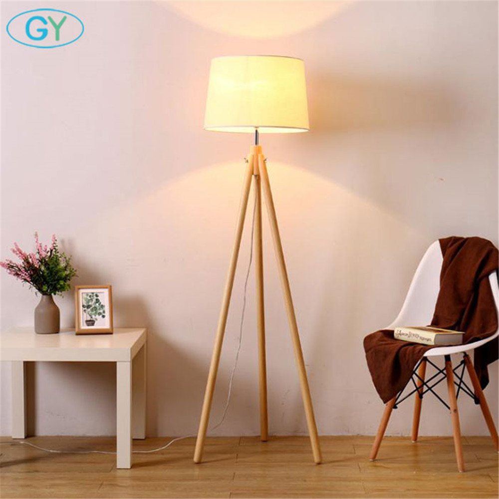Industrial Tripod Floor Lamp Linen Beige Fabric lampshade living room standing Lights bedroom E27 stand floor lighting fixture modern wooden floor lamps bookshelf floor stand lights tea table standing lamp living room bedroom locker nightstand lighting