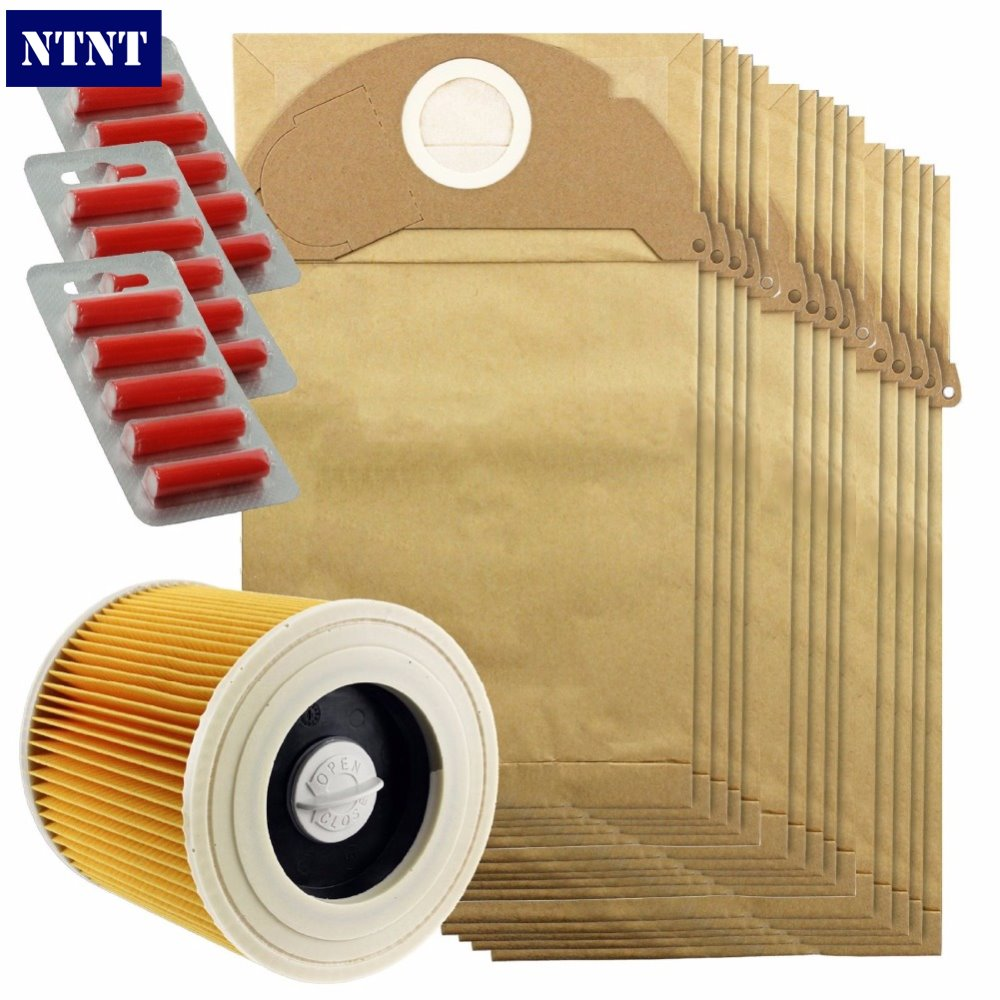 NTNT Free Post New 15 Pcs dust dust bag & Filter Kit for Karcher A2054 and A2064 Vacuum Cleaner 15 Bags + 15 Fresheners цены