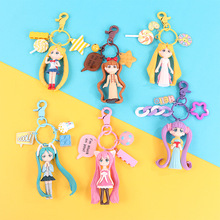 2019 New Popular Cute Keychain Water Moon Beautiful Girl Warrior Lovely 3D Doll Key Chain DIY Accessories Cartoon Hot For