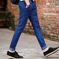 Blue/Black Skinny Jeans Pants For Men 2016 Korean Fashion Slim Fit Blue Striped Jeans Homme