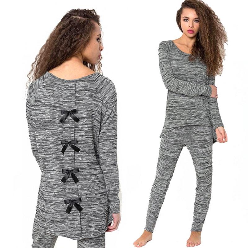 2 PCS Back Bow Long Sleeve Casual Women Sets Autumn Women Tracksuit Womens Hoodie Sweatshirts + Pants Sets Female KH833565