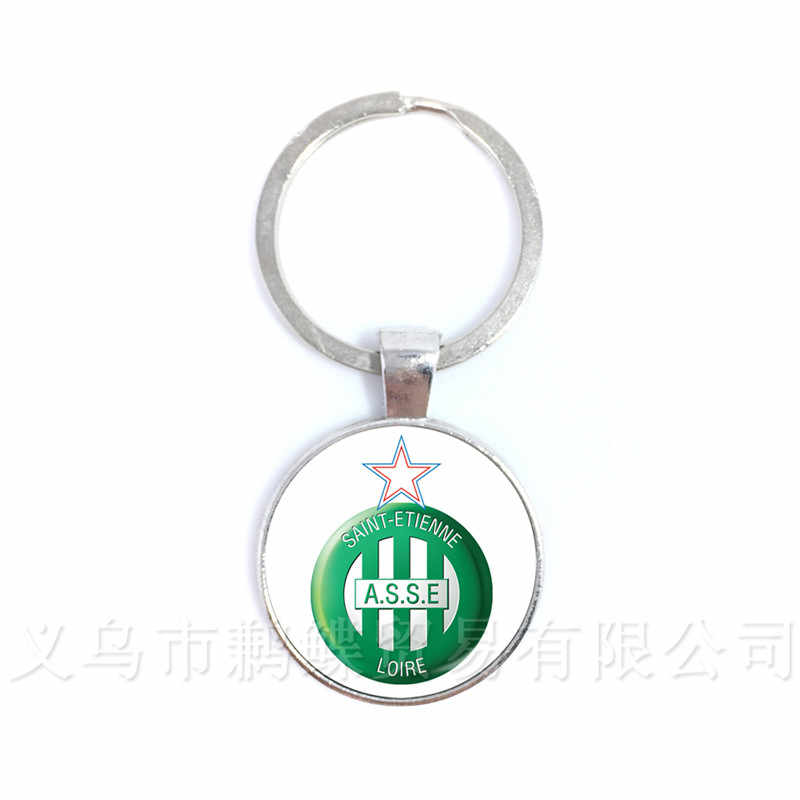ASSE PSG  Football France Football Team Logo 25mm Glass Dome  Key Chain Ring Holder For Football Fans' Commemorative Best Gifts