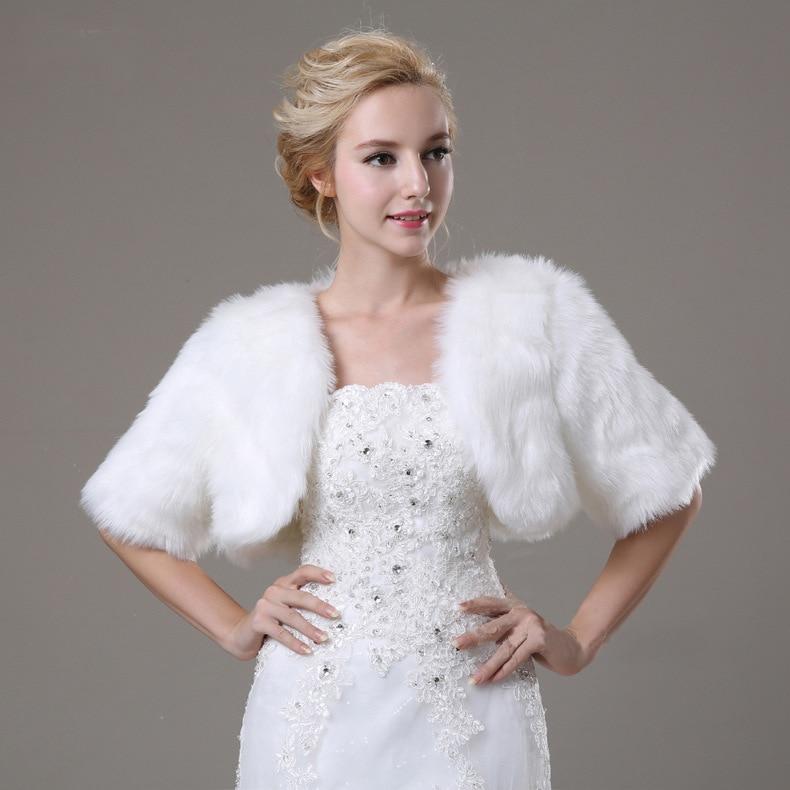 Winter Warm Bridal Wraps 3/4 Length Faux Fur Shawl Evening Coat Women Ivory Cape Boleros Bridal Jacket Wedding Accessories LT072