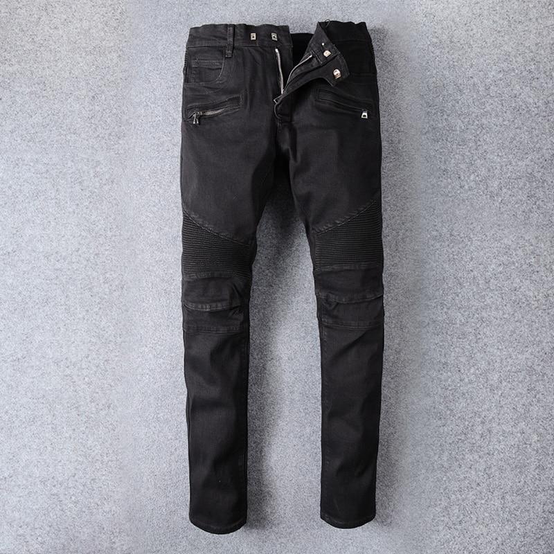 Vintage Designer Fashion Men Jeans Black Color Spliced Denim Cargo Pants Hip Hop Jeans Men Streetwear Motor Biker Jeans Homme