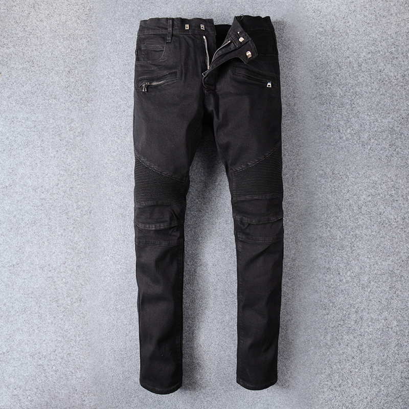 Vintage Designer Fashion Men Jeans Black Color Spliced Denim Cargo Pants Hip Hop Jeans Men Streetwear Motor Biker Jeans Homme