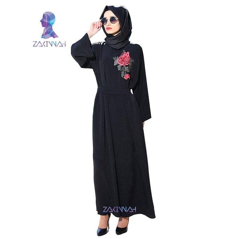Nouvelles femmes manches longues noir Dubai robe musulmane maxi abaya - Vêtements nationaux - Photo 3