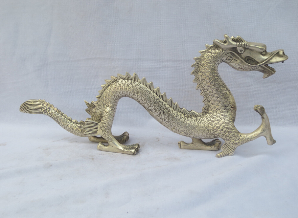 13.4 Inch Hand Carved Tibet Silver Dragon Sculpture,Antique Animal Statue Metal Crafts