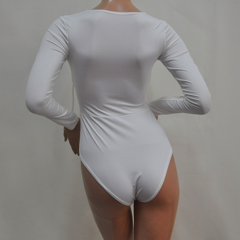 a63a9d64d9db Summer Style Plus Size Women White Black Tie Up Bodysuit Romper Long Sleeve  Plunge V Neck Sexy Bodysuit Shirts-in Bodysuits from Women s Clothing on ...