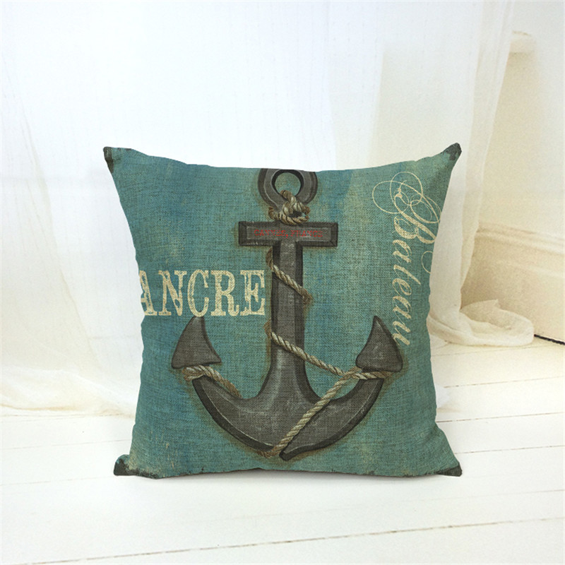 MYJ 2016 New 43x43cm cojines Linen Cushion for Decorative Boat Print Cushion Decorative pillows Home Decor can print your name