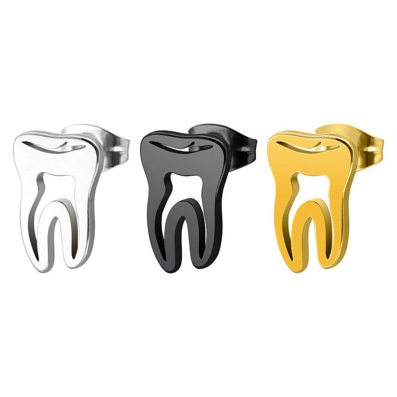 Titanium Steel Stainless Steel Gold Hollow Teeth Stud Earrings Fashion Minimalism Love Dental Ear Studs Men Woman Jewelry Gifts