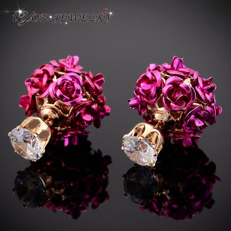 Серьги-гвоздики IYOE в виде цветка розы, романтичные двусторонние ювелирные украшения золотого цвета с кристаллами 7 мм для женщин, бижутерия ...