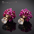 IYOE Gold Plated Romantic Double Side Rose Flower Stud Earrings Fashion Brand 7mm Crystal Earrings For Women Couple Jewelry