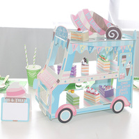 Ice Cream Van Stand Cars Blue Display Stand For Cupcakes Candy Sweets For Boys Birthday Decoration Cupcake Holder Sugarcrafts