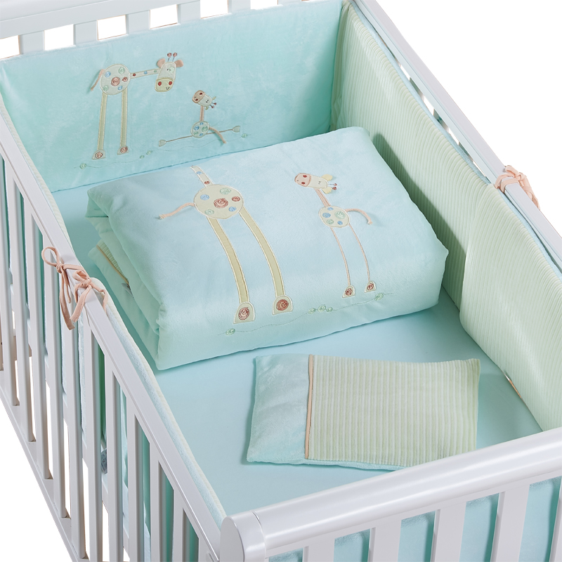 94a90cad884 Cotton Baby Cot Bedding Set Newborn Cartoon Crib Bedding Detachable Quilt  Pillow Bumpers Sheet Cot Bed Linen 2 size