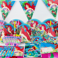 78pcs Luxury Kids Birthday Party Decoration Set Mermaid Ariel Theme Party Supplies Baby Birthday Party Pack